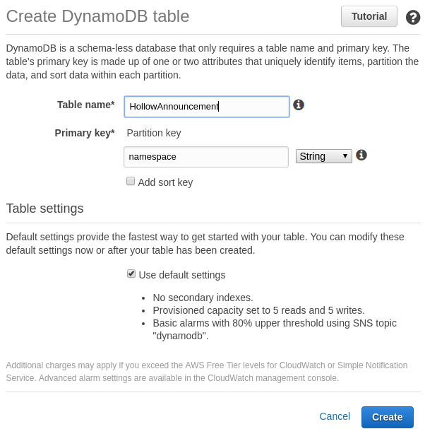 Create DynamoDB Table